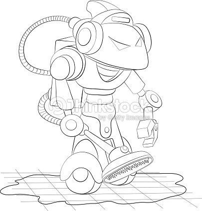 Robot De Historieta De Limpieza Con Aspiradora Libro Para Colorear ...