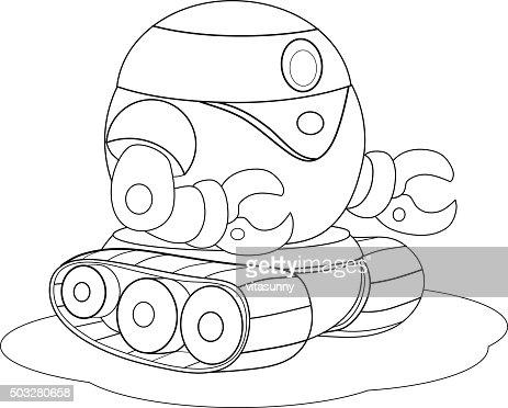 Cartoon Robot Crawler Repair Coloring Book Vector Art