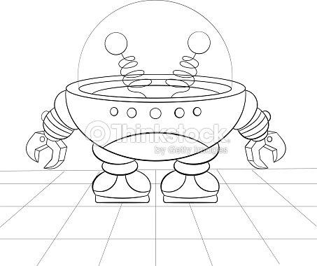 Robot De Historieta Reparación Libro Para Colorear Arte vectorial ...