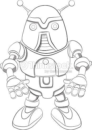Cartoon Robot With Antennas Coloring Book stock vector