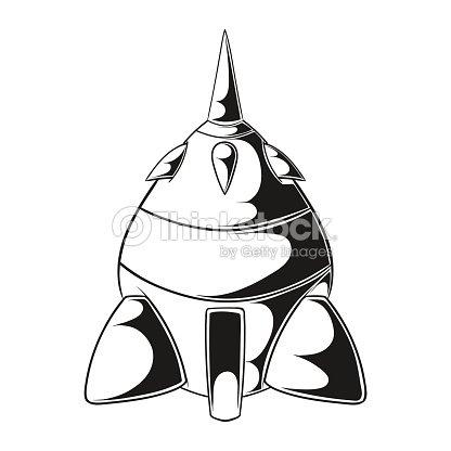 Dibujos Animados De Cohete Espacial Nave Icono De Simple Retro Nave ...