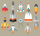 Cartoon rockets icons. Vector futuristic space ships set