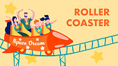 Cartoon Rollercoaster in Amusement Park Flat Invitation Card Happy Satisfied Family Riding on Roller Coaster Scary Space Dream Scared Funny Entertainment for Parents and Children Vector Illustration