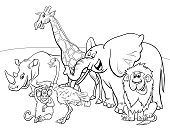 Black and White Cartoon Illustration of Wild Safari Animal Characters Group Coloring Book