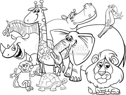 Animales De Safari Página Para Colorear De Dibujos Animados Arte ...