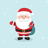 Cartoon Santa Claus for Your Christmas and New Year greeting Design or Animation. Cartoon holiday character. Santa Claus stand and holding his gift bag. Cute Santa Claus vector illustration.