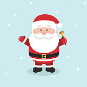 Cartoon Santa Claus for Your Christmas and New Year greeting Design or Animation. Vector illustration of happy Santa Claus ringing a hand bell in colorful flat style
