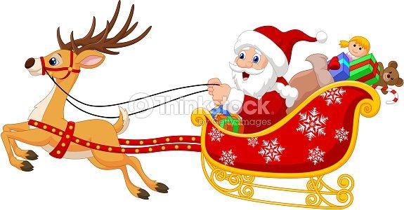 cartoon santa in his christmas sled being pulled by reindeer vector art - Reindeer And Santa