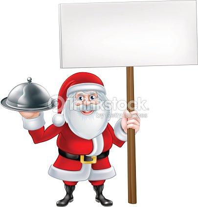 Cartoon santa plateau panneau clipart vectoriel thinkstock for Cuisinier humour
