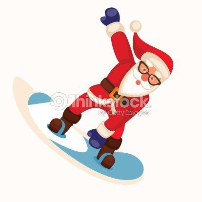 comic weihnachtsmann snowboarden vektor vektorgrafik. Black Bedroom Furniture Sets. Home Design Ideas