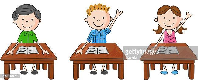 Tisch schule  Comic Schule Kinder Sitzen Am Tisch Vektorgrafik | Thinkstock