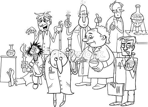 Personajes De Dibujos Animados Los Científicos Libro Para Colorear ...