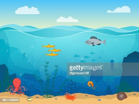 Cartoon Sea Underwater Scene Color Background. Vector : stock vector