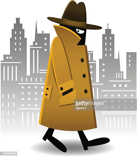 A cartoon secret agent in a trench coat waking in the city