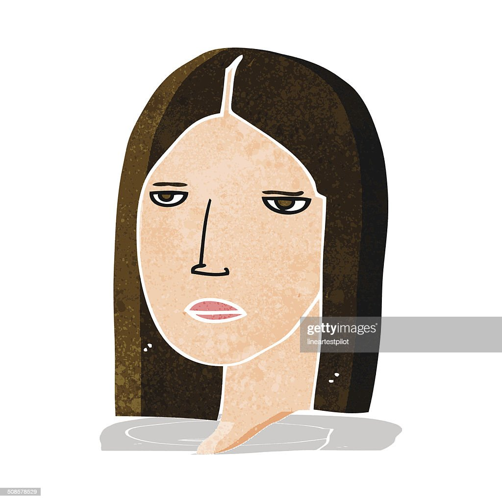 cartoon serious woman : Vector Art