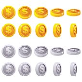Cartoon set of 3D metallic coins, vector animation game rotation. Gold and silver dollar simbol