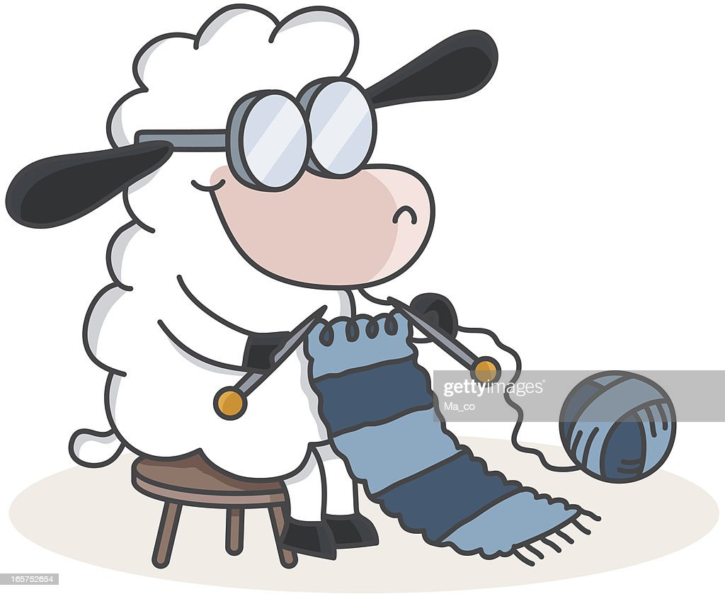 Cartoon Knitting Images : Cartoon sheep knitting a scarf vector art getty images