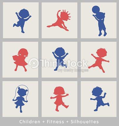 Dibujos Animados De Siluetas De Niños Activos Diseño De Elementos De ...