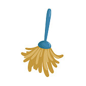 Cartoon simple feather duster icon. Spring cleaning  duster brush icon isolated on white background. Vector illustration. EPS10 + JPEG preview.