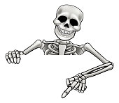 A skeleton Halloween cartoon character peeking over a sign and pointing