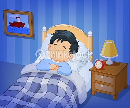 dessin anim sourire petit gar on dormant dans un lit clipart vectoriel thinkstock. Black Bedroom Furniture Sets. Home Design Ideas