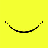 Cartoon Smile Logo Isolated on Yellow Background