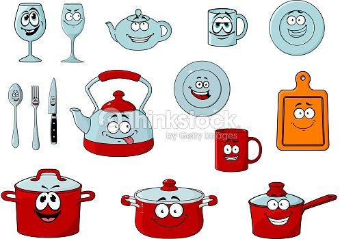 Cartoon smiling kitchenware and glassware vector art - Instrumentos de cocina ...