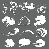 Cartoon smoke set in vector