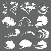 Cartoon smoke set in vector