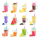 Cartoon smoothie. Various summer drinks smoothie. Vector fresh juice blueberry and carrot illustration
