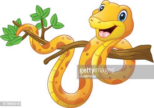 Dessin Animé Serpent dessin animé serpent sur branche clipart vectoriel | thinkstock