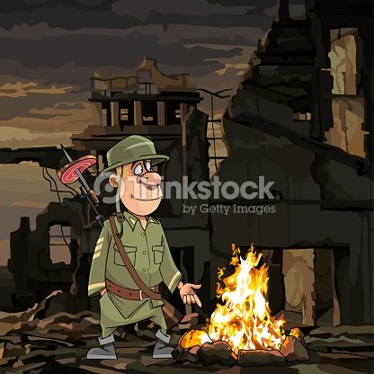 Cartoon Soldier Stands By The Bonfire In Ruins Vector Art