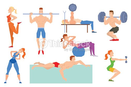 salle de sport de dessin anim personnes exercice de groupe sur ballon de remise en forme. Black Bedroom Furniture Sets. Home Design Ideas
