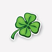 Vector illustration. Green clover. Lucky quatrefoil. Good luck symbol. Four leaf clover. Cartoon sticker in comic style with contour. Decoration for greeting cards, posters, patches, prints for clothe