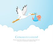 Cartoon stork in sky with baby. Design template for greeting card, baby shower invitation, banner. Congratulations to the newborn. Vector illustration in flat style.