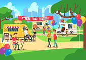 Cartoon street food festival with people and trucks vector background. Street food festival and market illustration