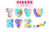 Funny cartoon style colorful uppercase vector alphabet. Font set with letters T, U, V, W, X, Y, Z and sling wire beads