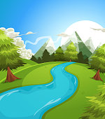 Vector illustration of a cartoon summer or spring high mountain landscape, with river, pine trees and firs for vacations, travel and seasonal holidays background. Vector eps and high resolution jpeg f