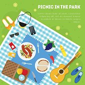 Cartoon Summer Picnic in Park Basket Card Background Top View Family Vacation Concept. Vector illustration