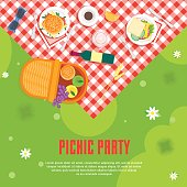 Cartoon Summer Picnic in Park Basket Card Background Place for Your Text Top View. Flat Design Style. Vector illustration