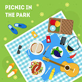 Cartoon Summer Picnic in Park Basket Card Poster Top View Family Vacation Concept. Vector illustration