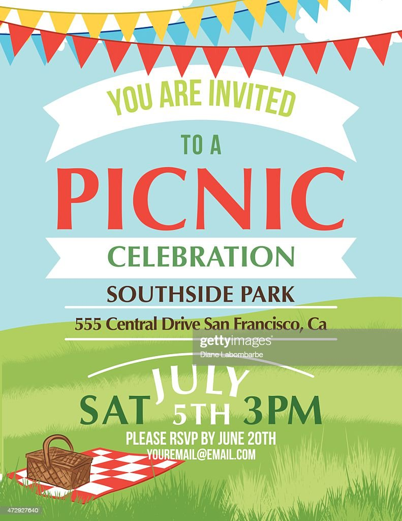 Cartoon Summer Picnic Invitation Template Vector Art
