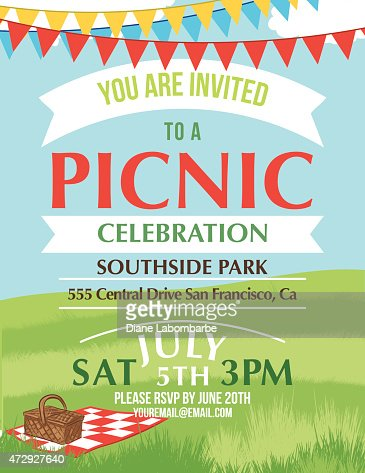 Cartoon Summer Picnic Invitation Template Vector Art  Getty Images