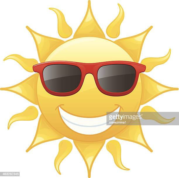 Cartoon sun wearing sunglasses and smiling