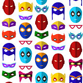 Cartoon Superhero Mask Seamless Pattern Background on a White Flat Style Design for Celebration Party or Holiday. Vector illustration of Heroic Costume Element