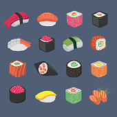 Cartoon sushi rolls japanese cuisine seafood vector set. Sushi food, roll with salmon and seaweed illustration