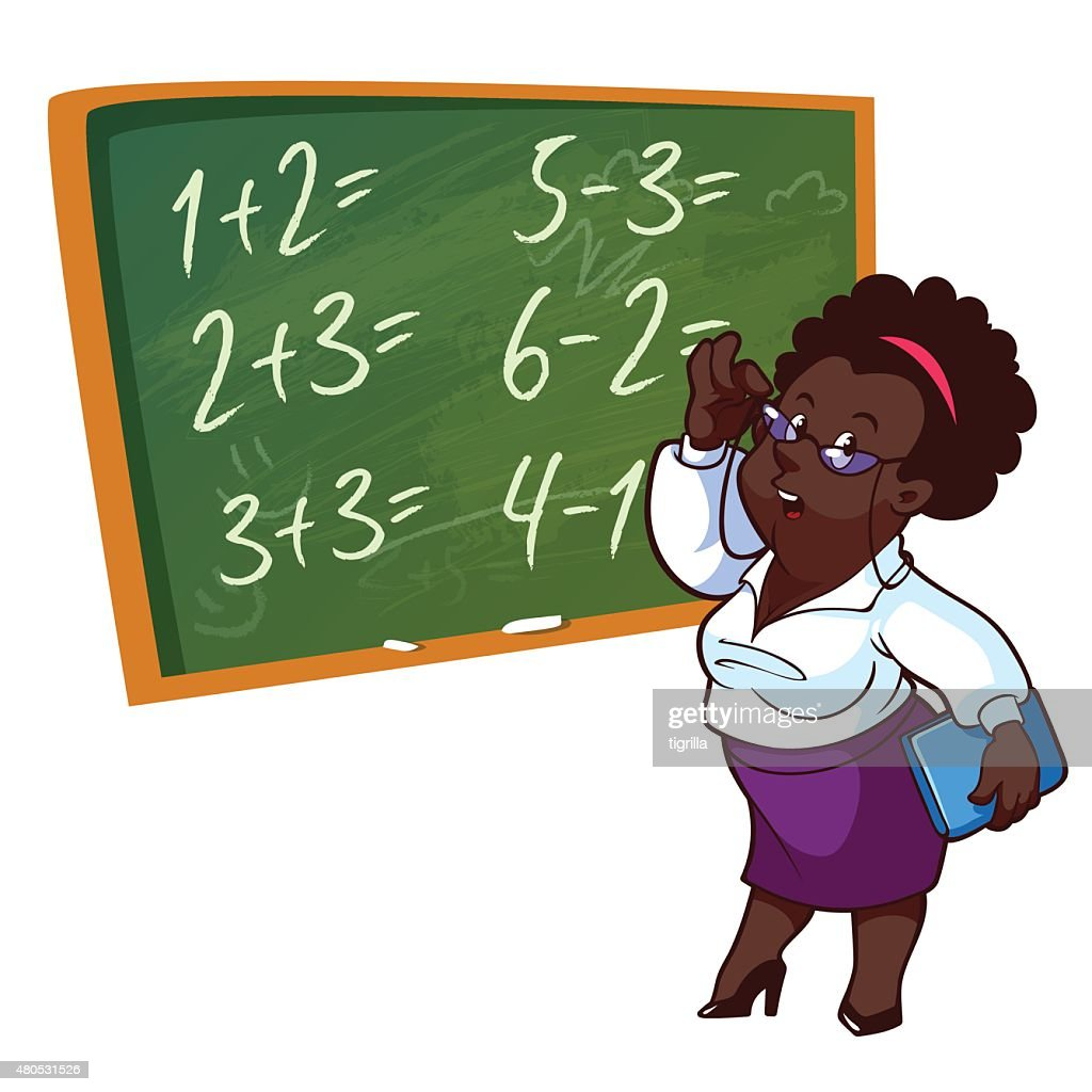 Cartoon teacher stands near the school board : Vector Art