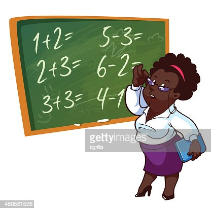 Cartoon Lehrer steht in der Nähe der Schule Bord : Vektorgrafik