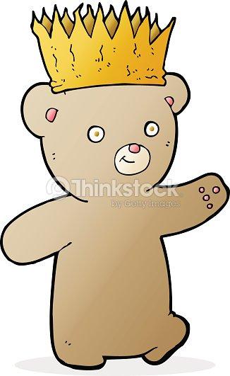 Ours En Peluche Dessin Anime Avec Papier Crown Clipart Vectoriel