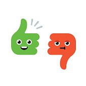 Cartoon Thumbs Up and Thumbs Down characters with cute funny faces. Flat vector illustration.